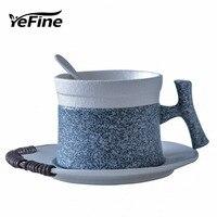 YeFine Snowflake Glaze Ceramic Coffee Cup European Tea Cups and Saucers Set Home Office Black Tea Teacup Porcelain Drinkware