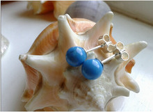 824 +++Handmade 8mm Blue Turquoise Round Sterling Silver Stud Earrings(China)