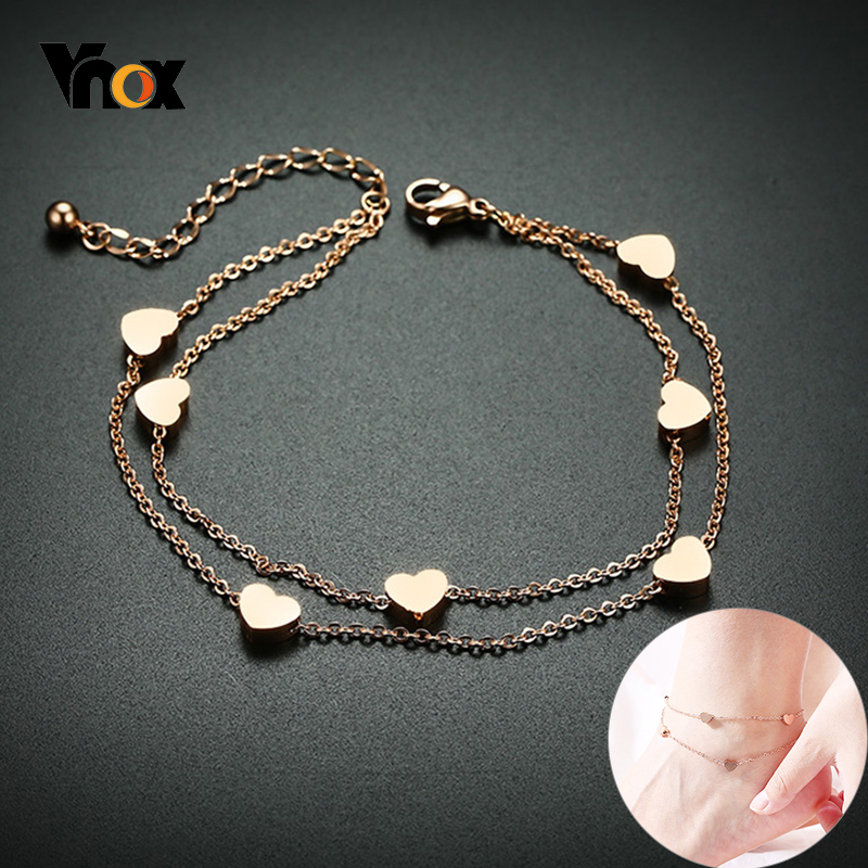 Vnox Elegant Women Anklet Heart Beads Stars Charms Stainless Steel Minimalist Metal Holidy Beach Ankle Jewelry