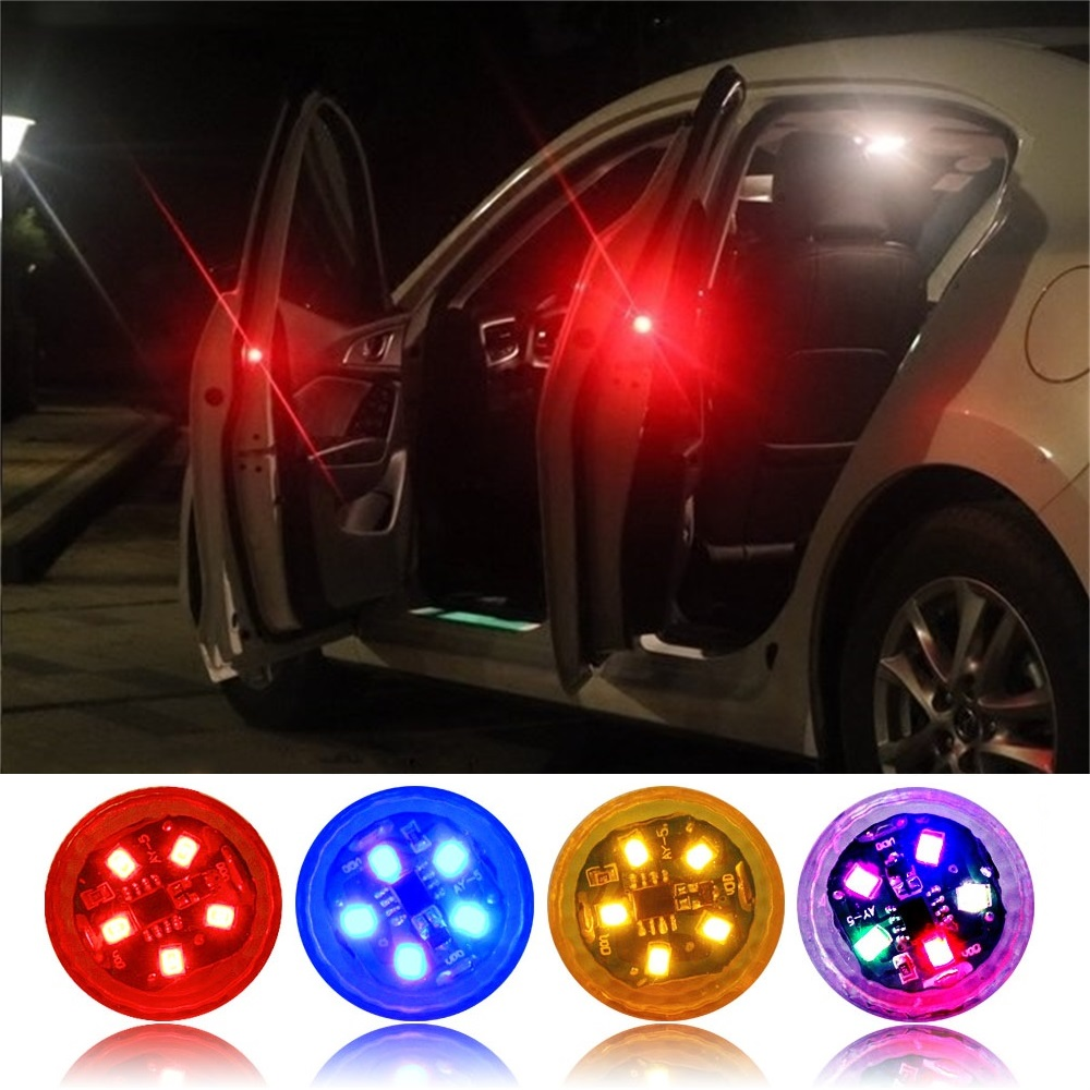 Universal LED Car Door Safety Warning Anti-collision Lights 5 LEDs Wireless Magnetic Induction Strobe Safety Alarm Light
