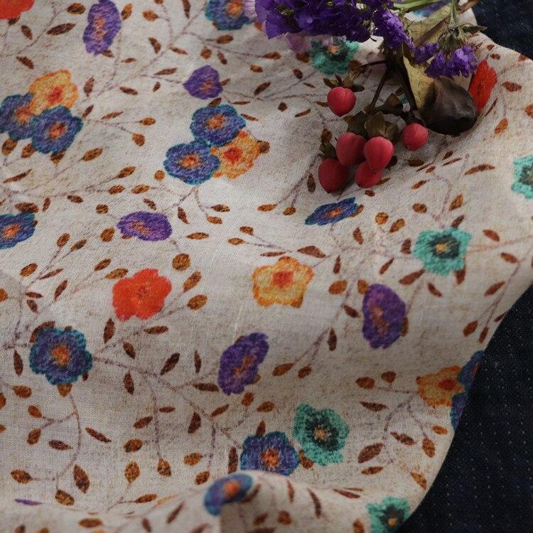High quality natural pure ramie fabric Digital printed fabric for dress Fashionable women's dress robe cheongsam material