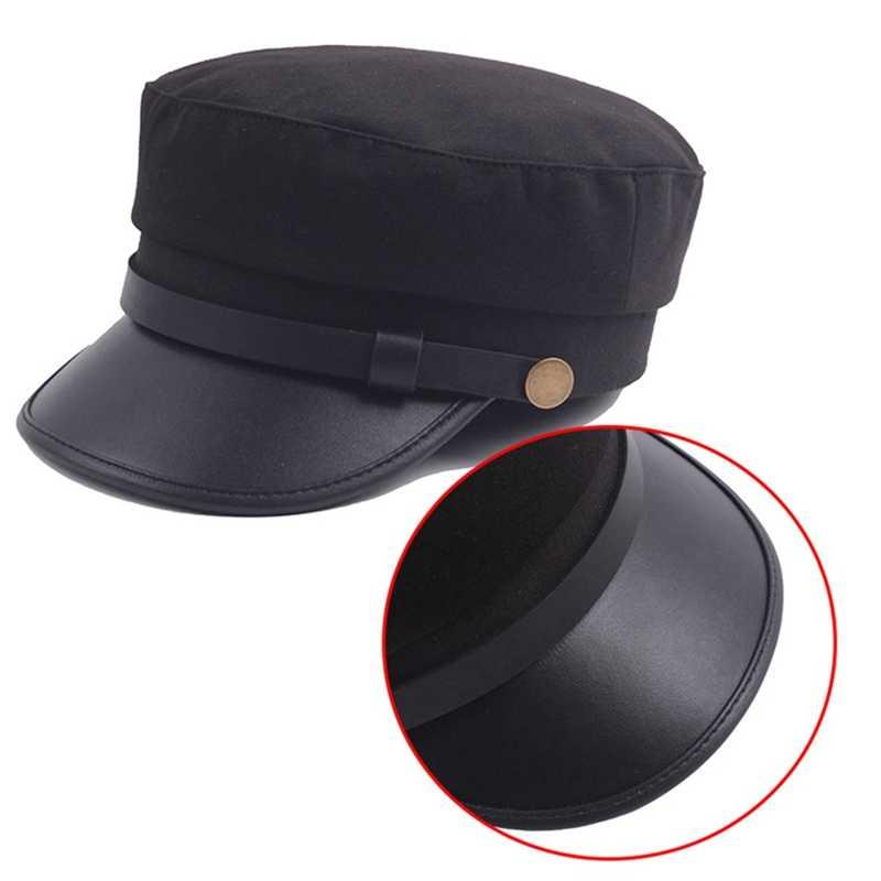 Da PU Thời Trang Quân Đội Nón Mùa Thu Mũ Thủy Thủ Dành Cho Nữ Đen Xám Đầu Dẹt Nữ Du Lịch Thiếu Sinh Quân Nón Đội Trưởng nón Mũ Nồi