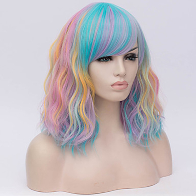 HAIRJOY Women Synthetic Hair Cosplay Wig Rainbow Multi Color  Party Wigs