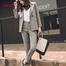 Women 2 Piece Pant Suits Sets Gray Casual Blazer & High Wais