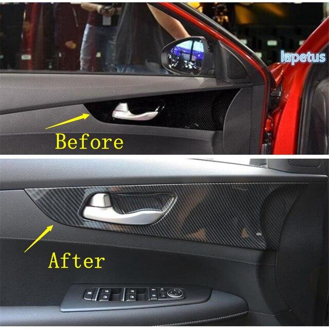 Lapetus Inner Door Pull Handle Bowl Decoration Panel Cover Trim Fit For Kia Forte / Cerato / K3 2019 2020 ABS Carbon Fiber Look 4