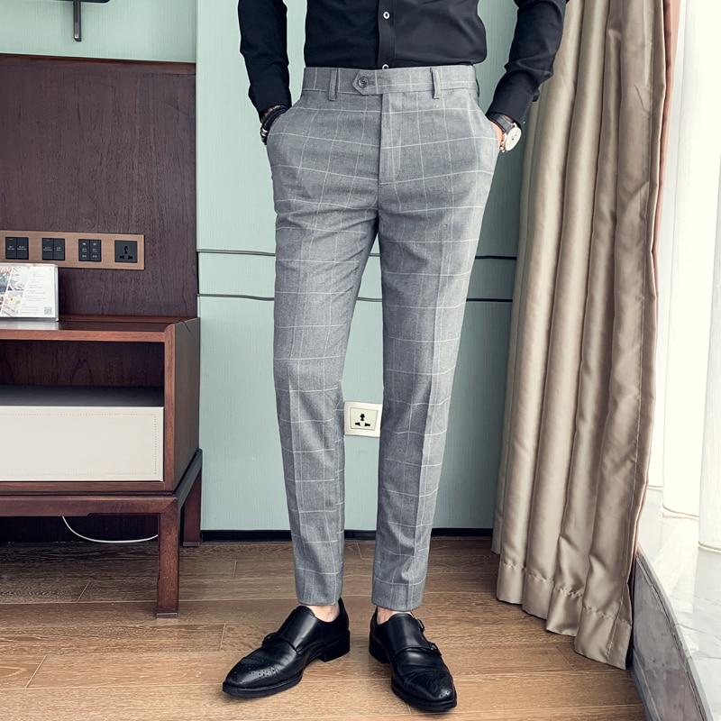 Pantalones De Vestir De Estilo Britanico Para Hombre Pantalones De Vestir Coreanos Delgados A Cuadros Pantalones