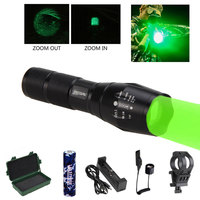 A100 5000 Lumens Q5 Under Barrel Hunting Flashlight Zoomable Pistol Gun Light Green/Red Torch+Mount+18650+Switch+usb charger+box