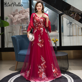 Plus Size Long Wine Red Evening Dresses 2019 V-neck A-line Floor-length Vintage Appliques Women Gowns With Sleeves