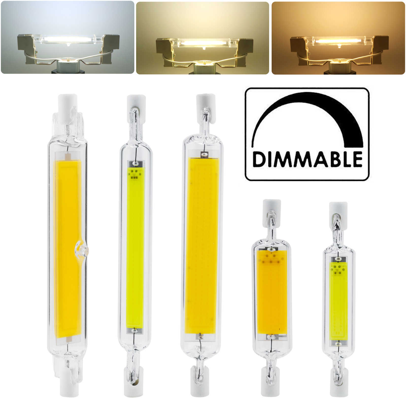 Dimmable R7s LED COB Lampu 78 Mm 118 Mm 5W 10W 20W 110V 220V lampu Sorot Worklight J Type Double Ended Putih Lampu Tabung Kaca