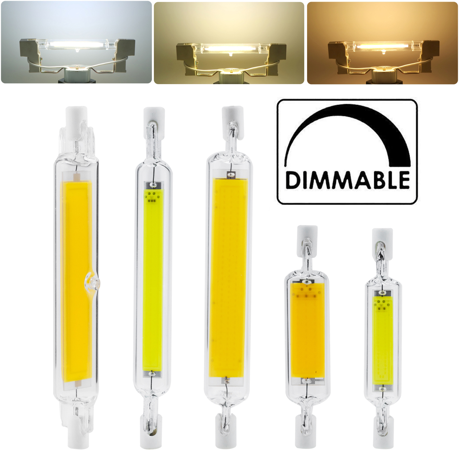 Dimmable R7s LED COB Light Bulbs 78mm 118mm 5W 10W 20W 110V 220V Floodlight Worklight J Type Double Ended White Lamp Glass Tube
