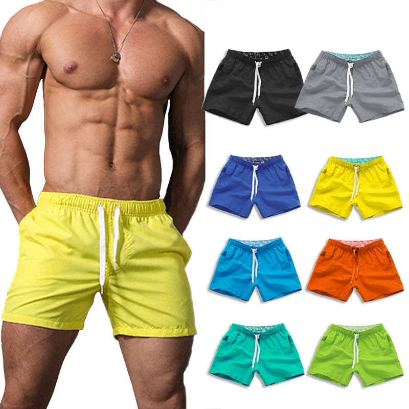 Swimsuit Shorts Men Solid Plus Size Surfing Shorts Elastic Waist Summer Beach Shorts Trunk Pants Sports Male Board Shorts S-XXL