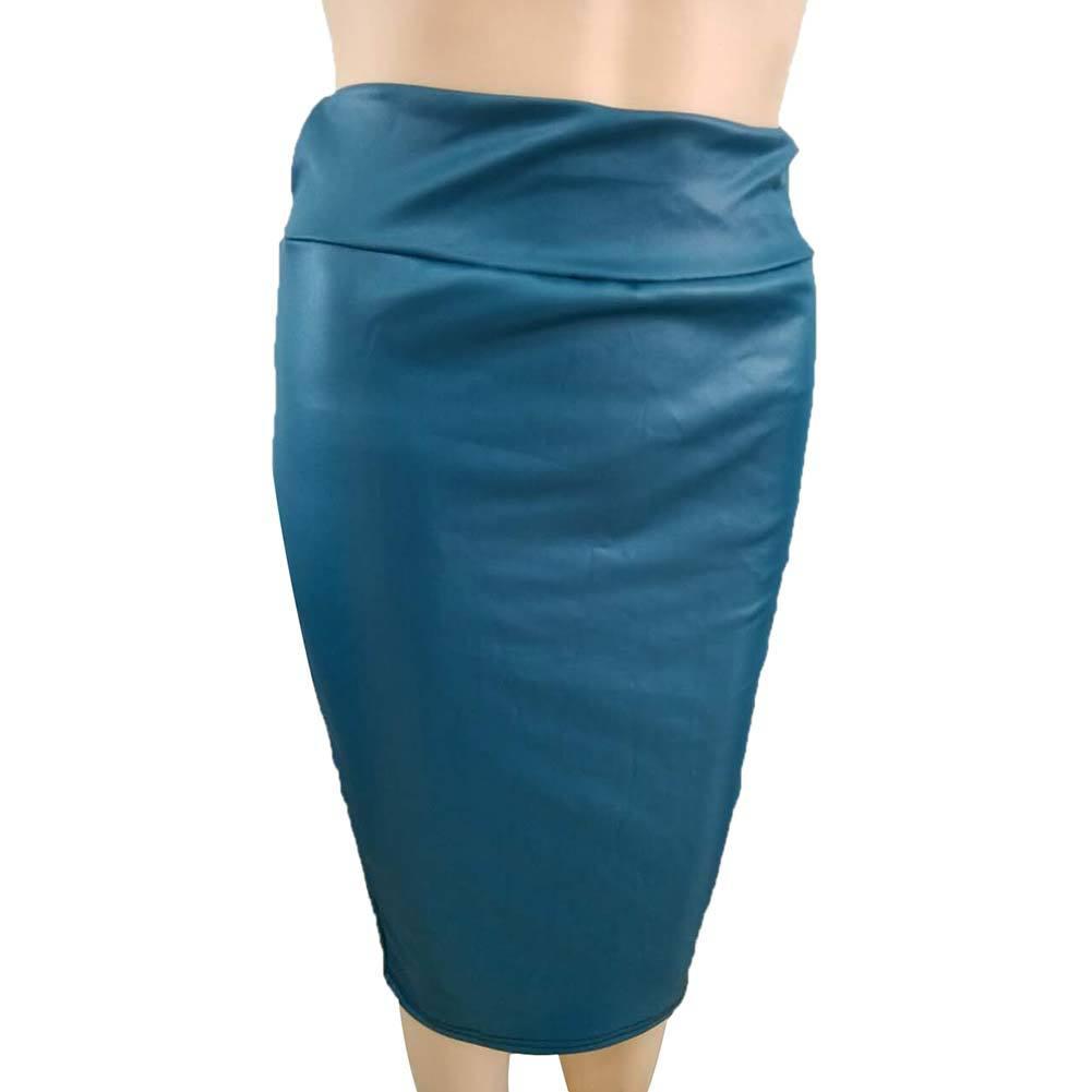 Женская новая длинная юбка-карандаш из искусственной кожи с высокой талией gigogou, элегантная облегающая юбка-карандаш средней длины, однотон...