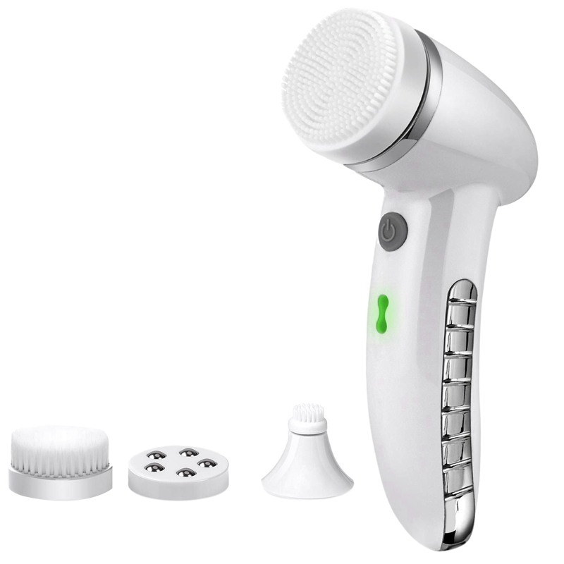 Facial Cleansing Brush Sonic Vibration Mini Face Cleaner ABS Deep Pore Cleaning Electric Waterproof Massage with 4 Heads