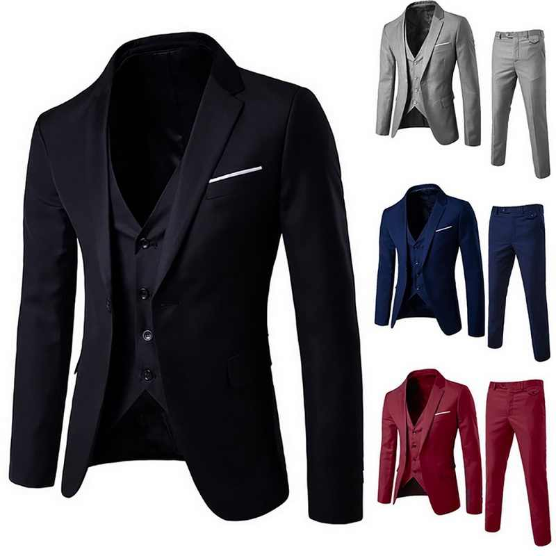 2020 Top Quality Men's Slim Fit Suits Business Wedding Casual Groomsman three-piece Suit Blazers Jacket Pants Trousers Vest Sets