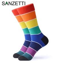 Sanzetti 1 par novo arco íris colorido brilhante meias femininas novidade bonito feminino penteado algodão presentes de festa criar vestido feliz meias