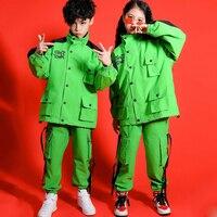 Children's Hip hop Dance Costumes Kids Boy Fluorescent Green Overalls Costume Girls Jazz Dance Street Practice Clothes 110 170