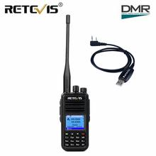 Radio Digital DMR de doble banda Radio Digital Retevis RT3S Walkie Talkie UHF VHF Radio GPS DCDM TDMA Ham Radio Staion ranura de tiempo Dual VOX + Cable