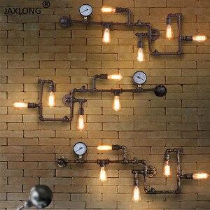 Image 1 - Punk de vapor loft industrial ferro ferrugem tubulação água retro lâmpada parede do vintage e27 arandela luzes para sala estar restaurante quarto barra