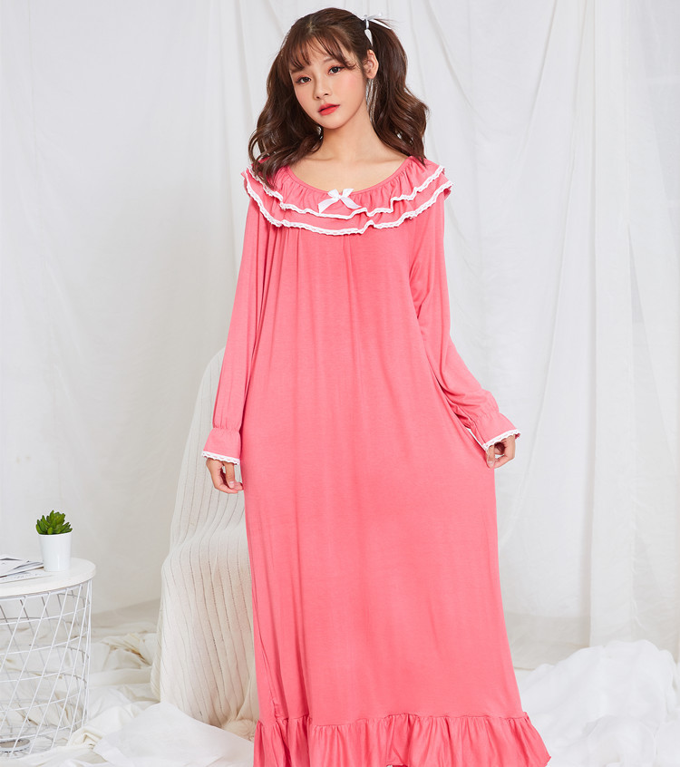 Spring Autumn Ladies Long Sleeves Modal Cotton Princess Nightgown Girl Student Royal Princess Sleepwear Lounge Negligee Homewear