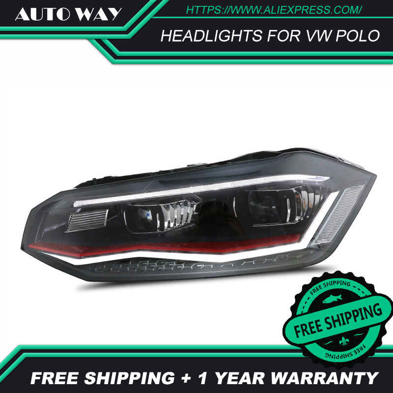 Car Styling For VW Polo Headlights 2019 For VW Polo Headlight 2019 Head Lamp Front Bi-Xenon Lens Double Beam Lens Low Beam