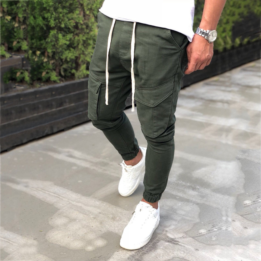 Men's Elastic Waistband Elastic Foot Mouth Security Pocket Overalls Sports Trousers Male Streetwear Pantalones Hombre Joggers