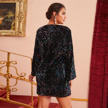 Plus Size Black Fitted Sequin Glamorous Dress