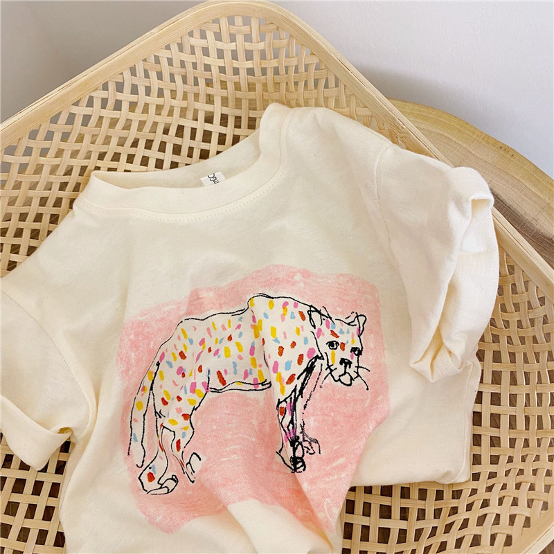 Brand Kids T-shirt for Girl&Boy Baby Kids Clothing Leopard Drawing White Tee Shirt Clothing for Girl Summer Children Top Clothes