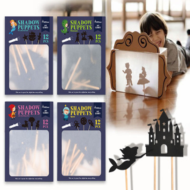 12pcs Kids Fairy Tale Story Shadow Puppets Imagination Educational Toys for Children Interesting Projection Art Games Gift Set
