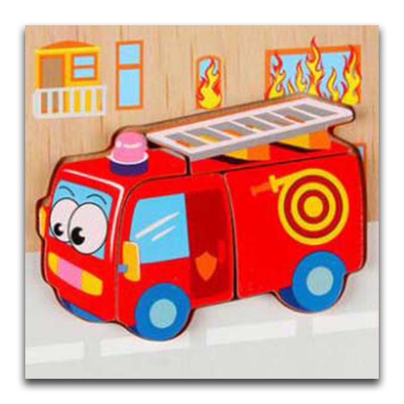 Baby Wooden 3D Puzzle Jigsaw Wooden Toys For Children Cartoon Fire Truck Animal Puzzle Intelligence Kids Educational