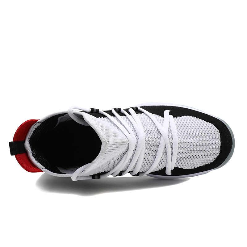 คู่รองเท้าบาสเกตบอลผู้ชายสูงด้านบนรองเท้าผ้าใบLBJ Shock Absorptionรองเท้าผู้ชายBreathableรองเท้ากีฬาชายรองเท้าข้อเท้า