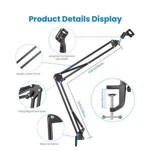 Image 2 - bm 800 Microphone Suspension Scissor Arm Stand Shock Mount Universal Computer Microphone Stand Table Mounting Clamp Pop Filter