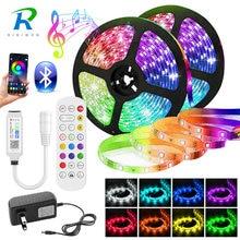 5050 LED şerit ışık 20M-5M Bluetooth RGB 2835 SMD esnek şerit led ışık şerit RGB bant diyot DC 12V müzik Bluetooth kontrol