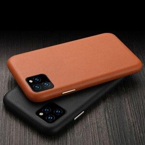 Image 1 - Luksusowy Vintage miękki skórzany futerał dla iPhone 7 8 Plus X XR XS MAX metalowy przycisk głośności dla iPhone 11 11Pro MAX obudowa tylna