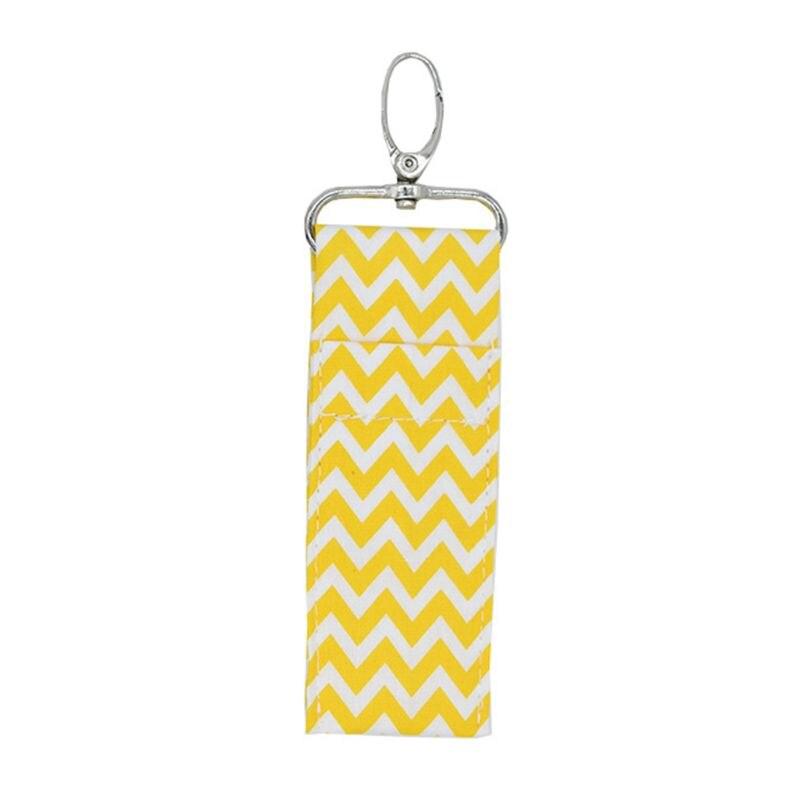 Cotton Cloth Chapstick Keychain Holder Wave Ripples Lipstick Pouch Bag Key Ring