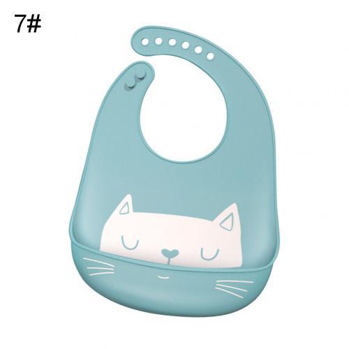 Водонепроницаемый Регулируемый нагрудник с животным принтом для малышей с карманом для кормления слюнявчик полотенце для еды аксессуар мягкий детский материал обеспечивает уход - Цвет: Blue Cat
