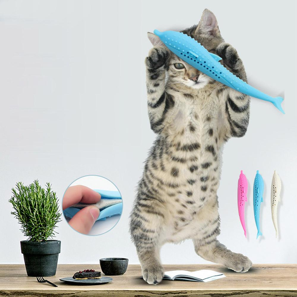 Pet Cat Toothbrush Toy Fish Shape Catnip Flavor Silicone Molar Stick Teeth Cleaning Toy For Cats Kitten Chew Toy Pet Products image