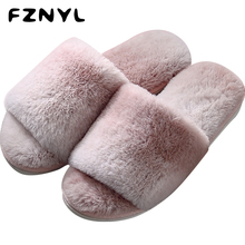 FZNYL Winter Warm Slippers Women Men Thick Indoor Bedroom Floor Shoes Couple Fur Furry House Slides Lover Flat Footwear