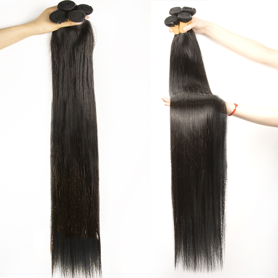 Fashow 30 32 34 36 40 inch Indian Hair Straight Hair Bundles 100% Natural  Bundles Double Wefts  Hair s 4