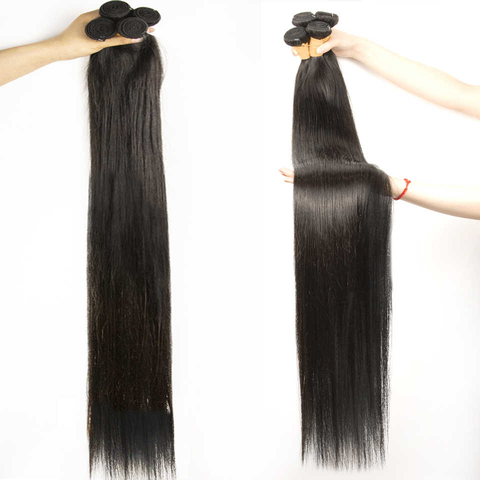 Fashow 30 32 34 36 40 inch Indian Hair Straight Hair Bundles 100% Natural Human Hair Bundles Double Wefts Remy Hair Extensions