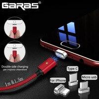 GARAS-cable magnético USB tipo C/3 en 1 Micro USB, Cable magnético tipo C USB-C adaptador de carga rápida, Cables de teléfono móvil