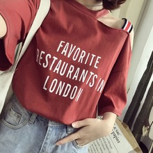 2019 Summer New Style Korean-style Lettered Camisole off-Shoulder-Short-sleeve T-shirt for Women Versatile Loose-Fit