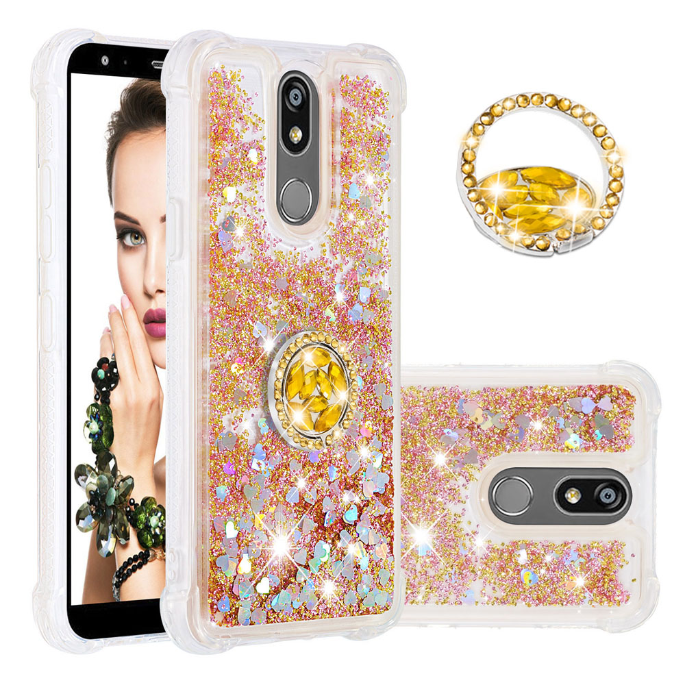 Shockproof Liquid Case For LG K12 Plus Case Dynamic liquid Glitter Quicksand Cover For LG <font><b>K12Plus</b></font> With Ring Coque Funda image