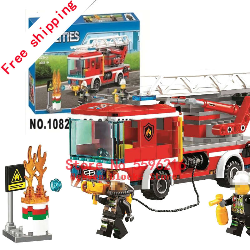 10828 225pcs Building Blocks  Kids Toys For Children Gift Compatible with  City Fire series 60107 Fire Ladder Truck