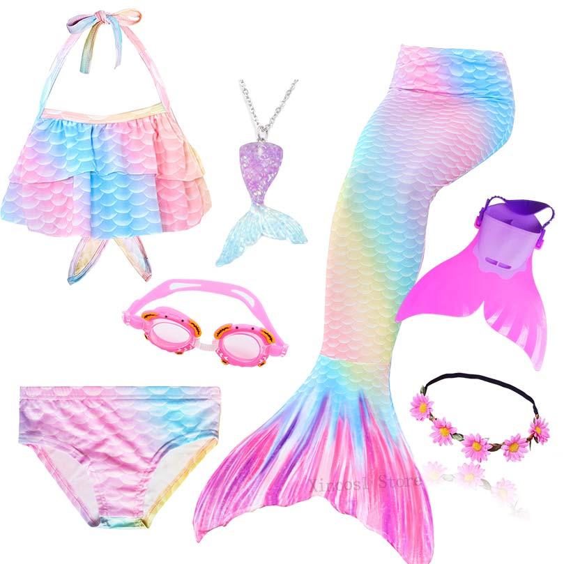 Kids Girls Cosplay Swimsuit Swimmable Mermaid Tail Monofin Swimwear Swimming Set