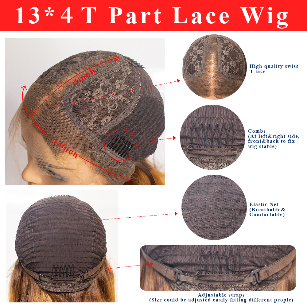 Brown Ombre Bone Straight Lace Front Wig  Virgin Hair  T Part Hd Highlight Lace Frontal  Wigs 6
