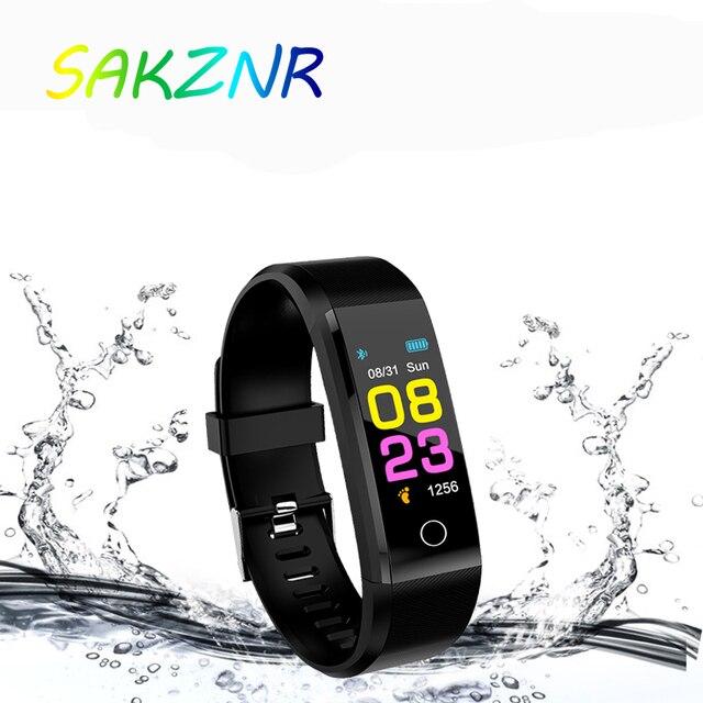 115 mais inteligente pulseira de pressão arterial, relógio fitness rastreador freqüência cardíaca banda inteligente atividade rastreador pulseira