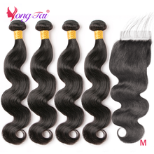 Hair-Bundles Closure Human-Hair Body-Wave Yuyongtai Peruvian with 4pcs/Lot Non-Remy