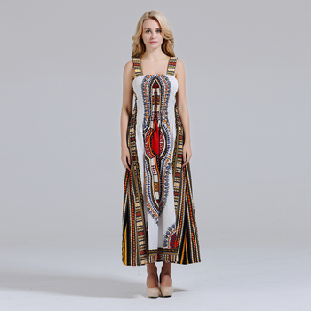 Ladies Dashiki Dress Traditional Print Dresses African Sundress Strapless Tribal clothing tribal print tassel dress