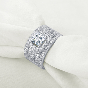 Image 4 - Wuziwen Halo חתונת טבעת סט לנשים 3Pcs מודגש 925 סטרלינג כסף אירוסין טבעות צלב נסיכה לחתוך זירקון קלאסי תכשיטים