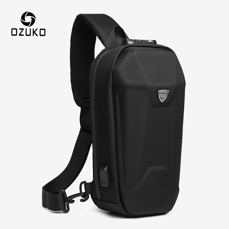 OZUKO Anti-theft Men Shoulder Bag Hard Shell Waterproof Crossbody Bags Male USB Charge Messenger Bag Short Trip Sling Chest Bag